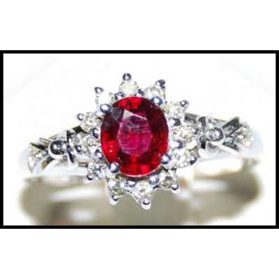 Ruby and Diamond Solitaire Ring Unique 18K White Gold [RS0044]