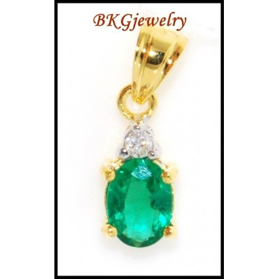 Genuine Diamond Emerald 18K Yellow Gold Solitaire Pendant [P0032]