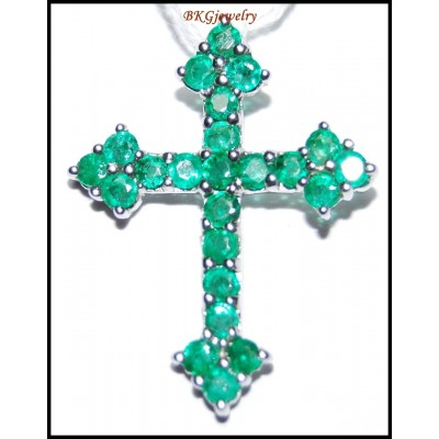 18K White Gold Natural Gemstone Cross Pendant Emerald [P0129]