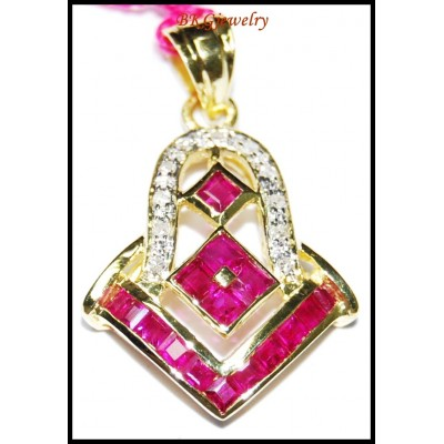 Ruby Jewelry Pendant Gemstone Diamond 14K Yellow Gold [P_157]