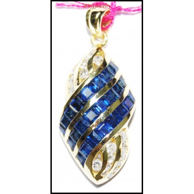 Eternity Diamond Blue Sapphire Pendant 14K Yellow Gold [P_153]