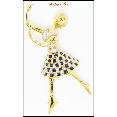 Blue Sapphire Women Brooch/Pin 18K Yellow Gold Unique Diamond [I_013]