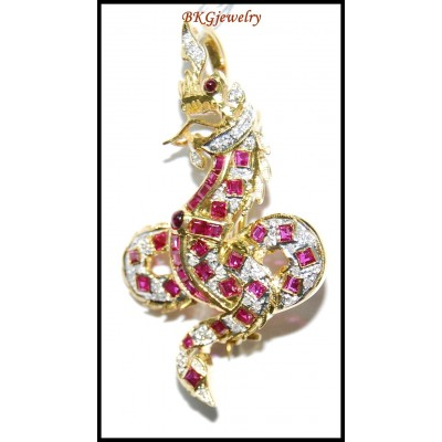 King of Nagas Ruby Diamond Brooch/Pendant 18K Yellow Gold [I_024]