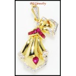 Natural Diamond Ruby Brooch/Pendant Gemstone 18K Yellow Gold [I_015]