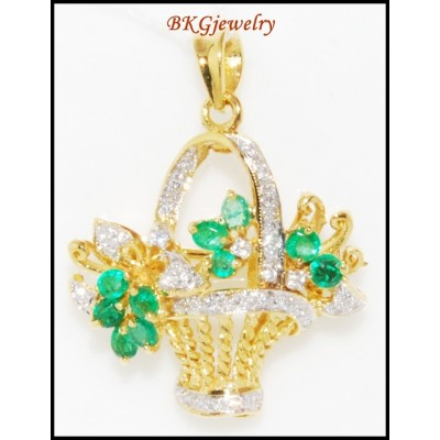 Flower Brooch/Pendant 18K Yellow Gold Diamond Emerald [I_011]