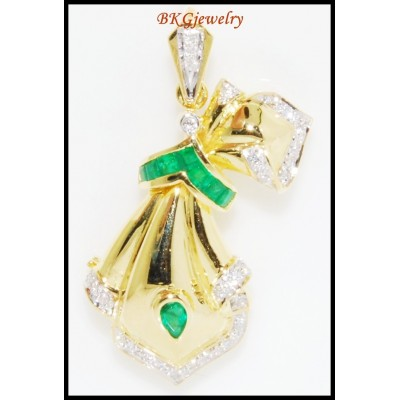 Gemstone Emerald Brooch/Pendant Diamond 18K Yellow Gold [I_014]