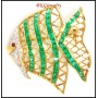 Ruby Emerald Fish Brooch/Pin Diamond 18K Yellow Gold [I_012]