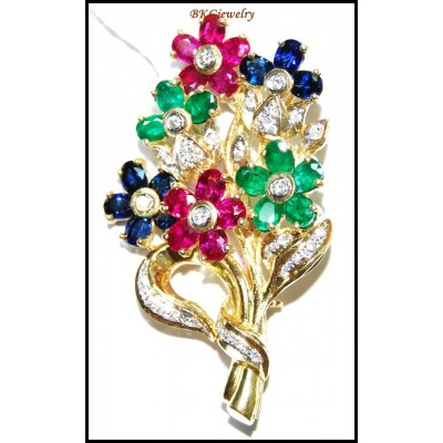 Diamond Multi Gemstone Flower Brooch/Pin 18K Yellow Gold [I_023]