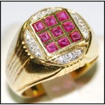 3x3 Square Ruby and Diamond Solid 18K Yellow Gold Ring [R0017]