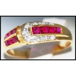18K Yellow Gold Genuine Ruby and Diamond Ring [R0018]