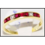 Genuine Ruby and Diamond Ring Solid 18K Yellow Gold [R0033]