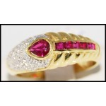 Natural Diamond and Ruby Solid 18K Yellow Gold [R0036]