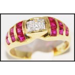 Genuine Ruby and Diamond Solid 18K Yellow Gold Ring [R0040]