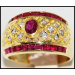 Gorgeous Ruby Ring and Diamond Solid 18K Yellow Gold [R0072]