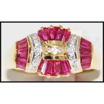 Stunning Ruby Ring and Diamond Solid 18K Yellow Gold [R0083]