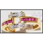 Square Design Diamond and Ruby Ring Solid 18K Yellow Gold [R0099]