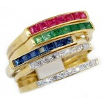18K Yellow Gold Diamond and Sapphire Ruby Emerald Stacker Ring [RT0003]
