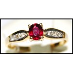 Genuine Ruby 18K Yellow Gold Stunning Diamond Solitaire Ring [R0128]