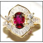 Gorgeous Diamond and Ruby Stunning Ring Solid 18K Yellow Gold [RB0010]