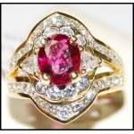 Gorgeous Ruby and Diamond Ring Solid 18K Yellow Gold [RB0019]