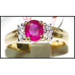 Ruby 18K Yellow Gold Diamond Genuine Solitaire Ring [RS0019]