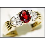 Ruby Solitaire Diamond Stunning Ring 18K Yellow Gold [RS0087]