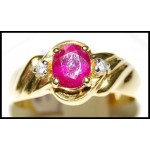 Diamond Gorgeous Solitaire Ruby 18K Yellow Gold Ring [RS0114]