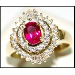 Exclusive Solitaire 18K Yellow Gold Ruby Diamond Ring [RS0158]
