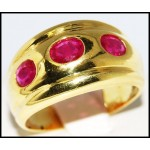 Three Stone Ruby Exclusive 18K Yellow Gold Ring [R0066]