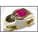Solitaire Oval cut Ruby 18K Yellow Gold Genuine Ring [RS0070]