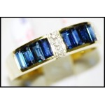 Blue Sapphire Natural Baguette Diamond 18K Yellow Gold Ring [RQ0013]