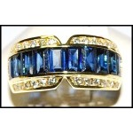 Diamond Baguette Blue Sapphire Gorgeous Ring 18K Yellow Gold [RQ0015]