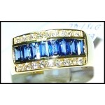 18K Yellow Gold Blue Sapphire Diamond Baguette Stunning Ring [RQ0017]