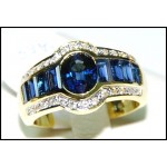 Genuine Diamond Baguette Blue Sapphire 18K Yellow Gold Ring [RQ0023]