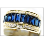 18K Yellow Gold Diamond Baguette Blue Sapphire Gorgeous Ring [RQ0047]