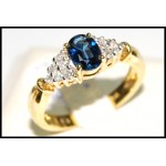 Diamond Oval Blue Sapphire Solitaire Ring 18K Yellow Gold [RS0011]