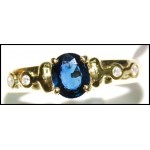 Estate Diamond Blue Sapphire Solitaire 18K Yellow Gold Ring [RS0017]