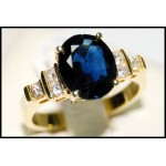 18K Yellow Gold Solitaire Natural Diamond Blue Sapphire Ring [RS0083B]