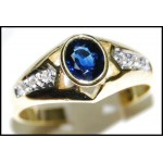 Diamond 18K Yellow Gold Oval Solitaire Blue Sapphire Ring [RS0117]