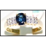 18K Yellow Gold Oval Solitaire Blue Sapphire Ring Diamond [RS0145]
