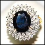 Diamond Stunning 18K Yellow Gold Cocktail Blue Sapphire Ring [RS0042]