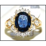 Diamond Stunning Cocktail Blue Sapphire 18K Yellow Gold Ring [RS0154]