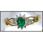 Gorgeous Emerald Diamond Solitaire 18K Yellow Gold Ring [RS0046]