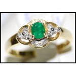 Emerald Solitaire Diamond Gorgeous 18K Yellow Gold Ring [RS0109]