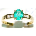 Diamond Estate Emerald Solitaire 18K Yellow Gold Ring [RS0126]