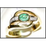 Diamond Exclusive Solitaire 18K Yellow Gold Emerald Ring [RS0131]
