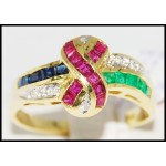 Multi Gemstone Natural Jewelry Diamond 18K Yellow Gold Ring [R0047]