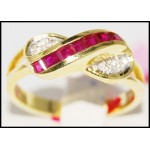 Genuine Diamond 14K Yellow Gold Gemstone Ruby Ring [RR019]