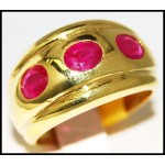 Ruby Exclusive Gemstone 14K Yellow Gold Three Stone Ring [RR072]