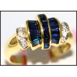 Exclusive Diamond Gemstone Blue Sapphire Ring 14K Yellow Gold [RR068]